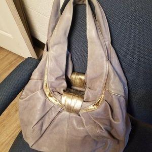 KOOBA HOBO LEATHER HAND BAG color purple gray
